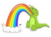 Tyranozaur wymiotujący tęczą – wzór na kubek