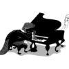 Velociraptor i fortepian Wzór na kubek