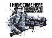 Drink coffee and kick ass – wzór na kubek