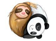 Panda z Leniwcem Wzór na Kubek