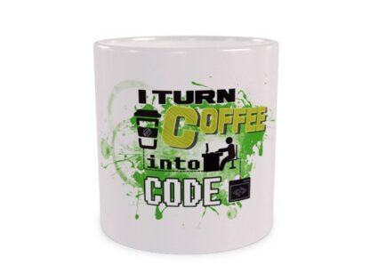 I turn coffee into code Duży kubek Wizualizacja