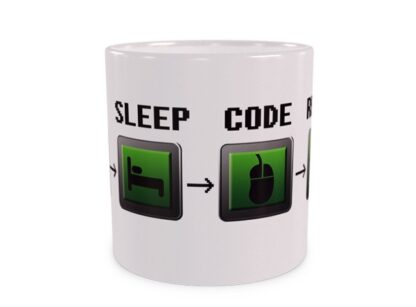 Eat Sleep Code Repeat Duży Kubek Wizualizacja