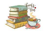 Wzór na kubek z herbatą i książkami