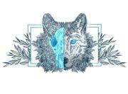 Wzór na kubek z wilkiem